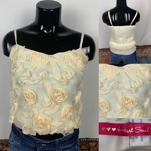 HeartSoul Top Camisole Shabby Chic Raised Floral